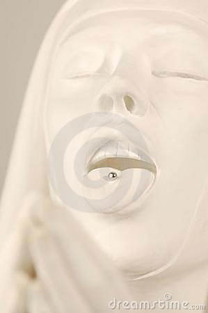 Nun statue with tongue pierced
