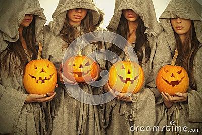 Nuns with halloween pumpkins