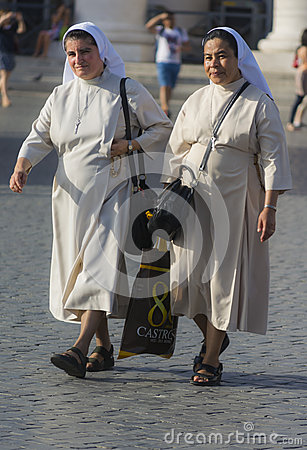 Nuns in white dress Editorial Stock Image
