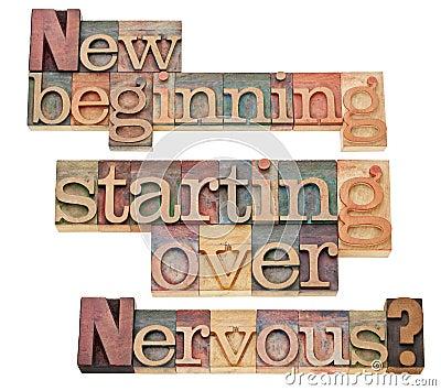 Nuovo inizio ed iniziare sopra
