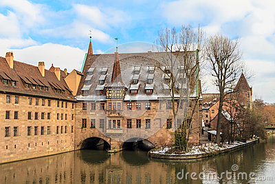 Nuremberg, ancient medieval hospital along the river,  Germany