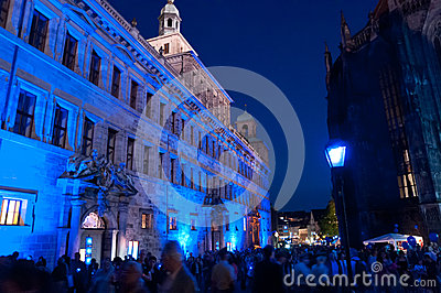 Nuremberg, Germany - Die Blaue Nacht 2012 Editorial Stock Image