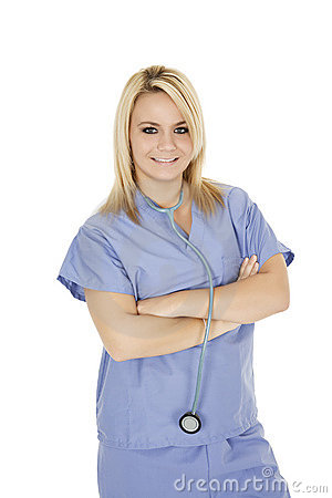Caucasian doctor or nurse wearing blue scrubs
