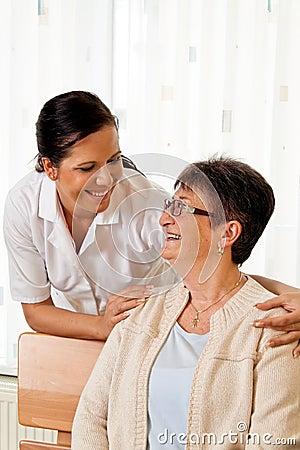Nurse in aged care for the elderly in nursing