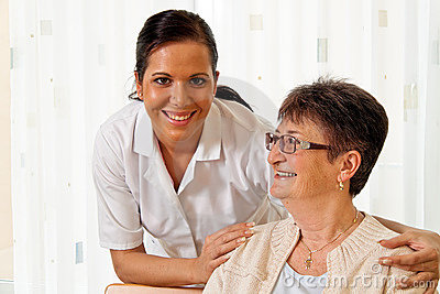 Nurse in aged care for the elderly in nursing