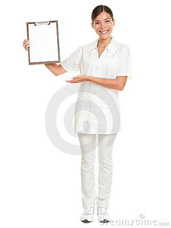 Nurse care therapist showing clipboard white sign