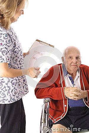 Nurse checking elderly patient