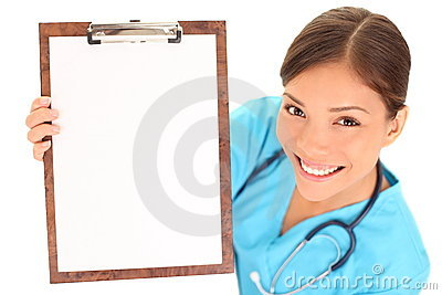 Nurse / doctor showing blank clipboard sign