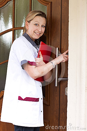 Nurse at the door for home visit