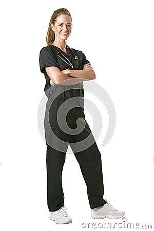 Nurse facing right in black scrubs