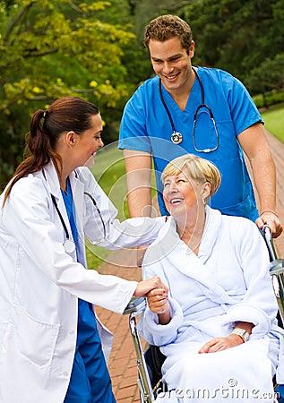 Nurse greeting patient