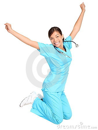 Free Nurse Happy Jumping Royalty Free Stock Photos - 17822058