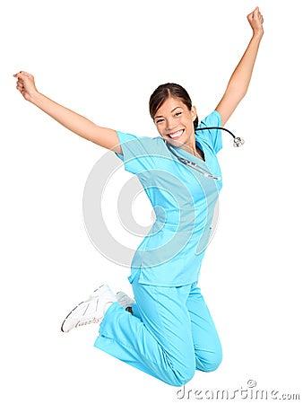 Nurse happy jumping