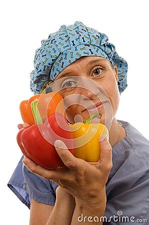 Nurse  healthy diet   bell peppers