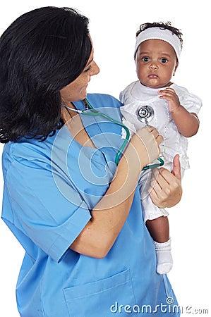 Free Nurse Holding Baby Royalty Free Stock Image - 3765676