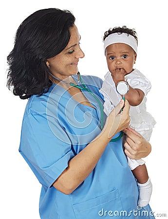 Free Nurse Holding Baby Stock Photography - 3803982