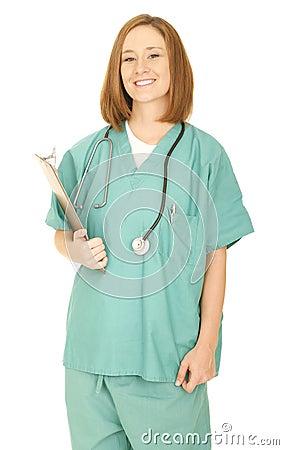 Nurse Holding Clip Board And Smile