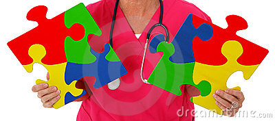 Nurse Holding Two Puzzle Pieces Representing Autism Awareness