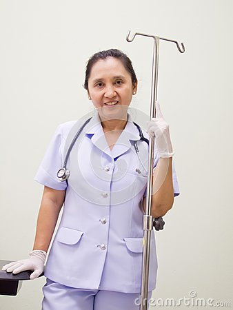 Nurse with I.V drips Equipment
