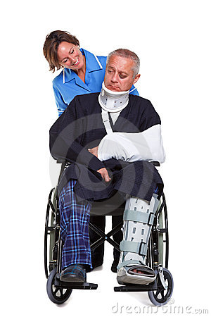 Nurse and injured man in wheelchair