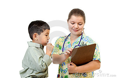 Nurse interacts with patient.