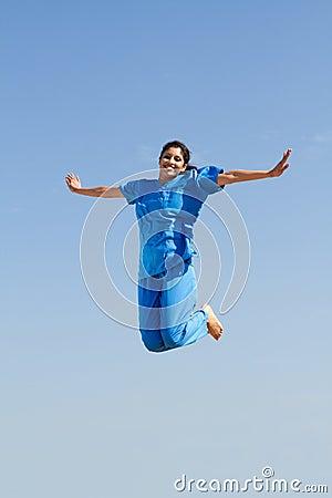 Nurse jumping high