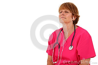 Nurse Listening To Headphones