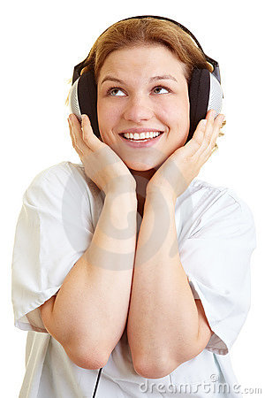 Nurse listening to music