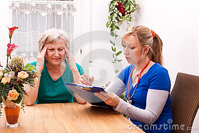 Nurse makes home visit and record data