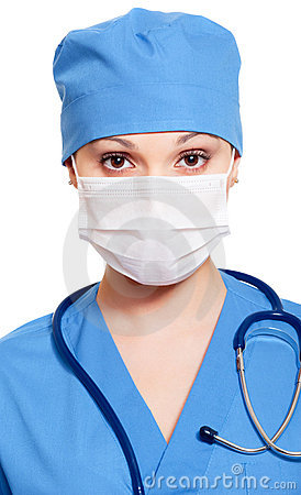 Nurse in mask and uniform