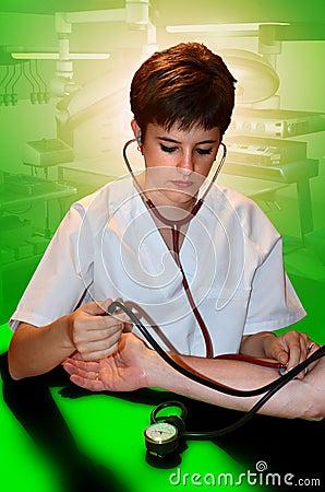 Nurse measuring blood-pressure