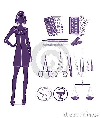 Medical background with nurse