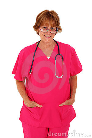 Nurse In Pink Scrubs Standing With Glasses On
