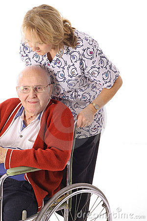 Nurse pushing elderly man