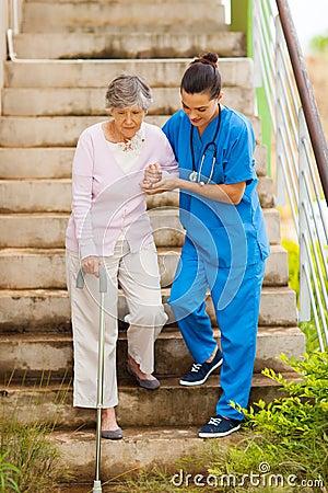 Nurse senior stairs