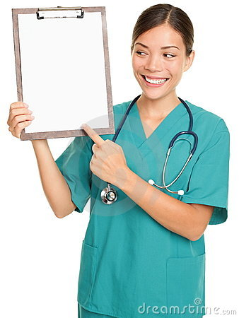 Nurse showing clipboard sign