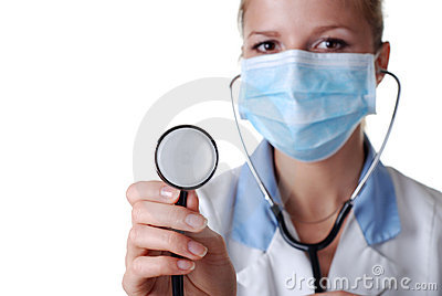 Nurse with stethoscope and mask