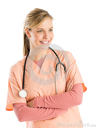 Nurse With Stethoscope Standing Arms Crossed