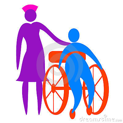 Nurse taking care of disabled person