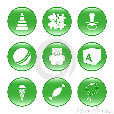 Nursery supplies - vector web icons (buttons)