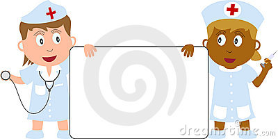 Nurses and Banner Editorial Stock Photo
