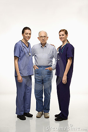Nurses with elderly male.