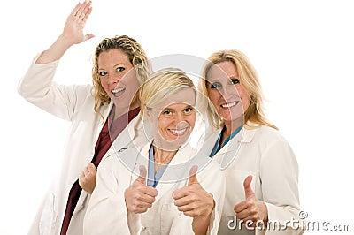 Nurses medical females happy expression