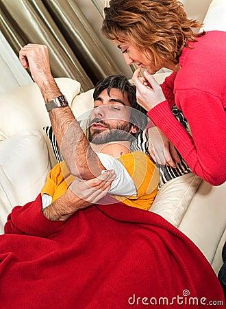 NurseTending to her Injured Man