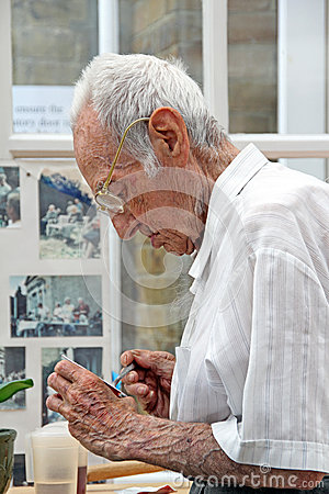 Nursing home resident eating Editorial Photo