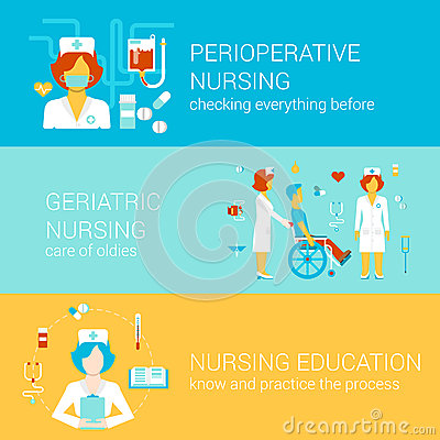 Free Nursing Medical Flat Banners Template Set Vector Infographics Stock Photography - 45358852