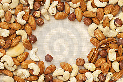 Nut mix on canvas