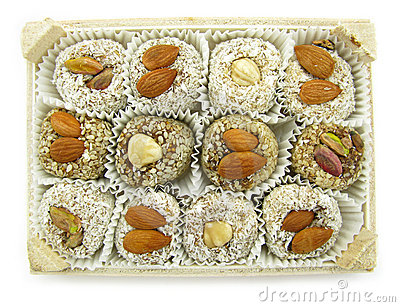 Nut topped cookies in box