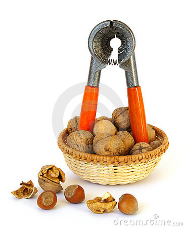 Nutcracker and nuts isolated