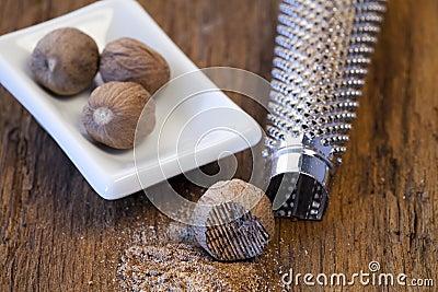 Nutmeg and nutmeg grater